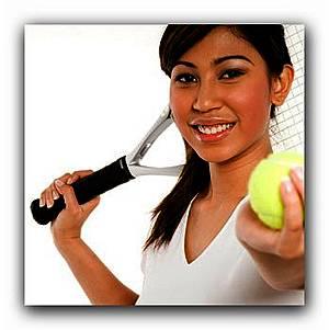 Tennisspielerin mit Utensilien